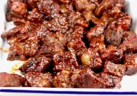 Smoked Chuck Roast Cubes barbecued