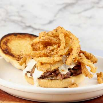 Roast Sandwich with fried onions and toasted buns