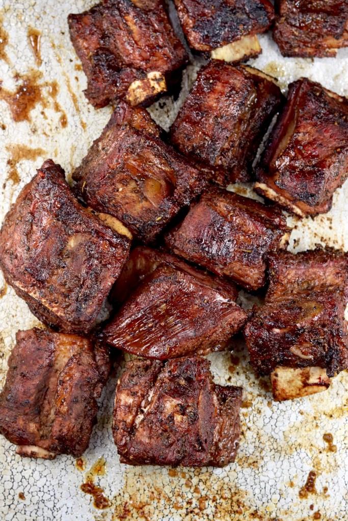 Marinated Beef Ribs on a sheet pan