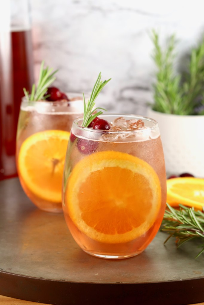 Wine punch with orange garnish