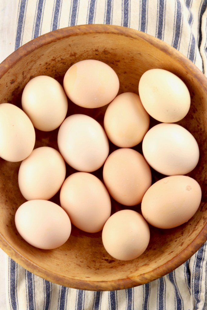 Fresh Brown Eggs in a wood bowl