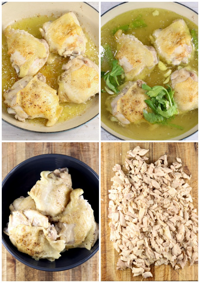 Collage of cooking chicken thighs to shredded chicken
