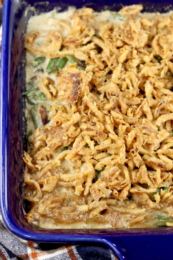 Overhead view of green bean casserole