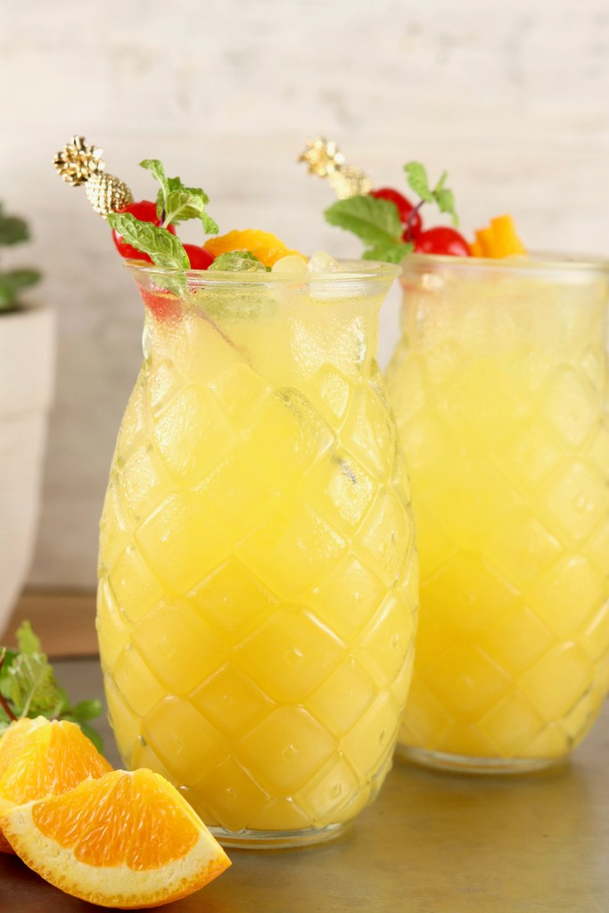 Pineapple Screwdriver cocktail in pineapple glasses