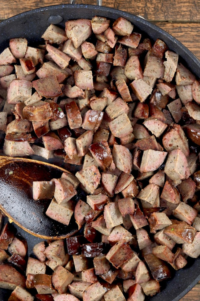 diced smoked sausage in a skillet