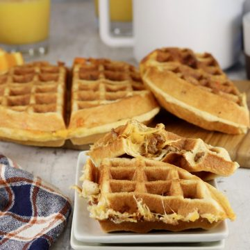 Sausage and cheese stuffed waffles