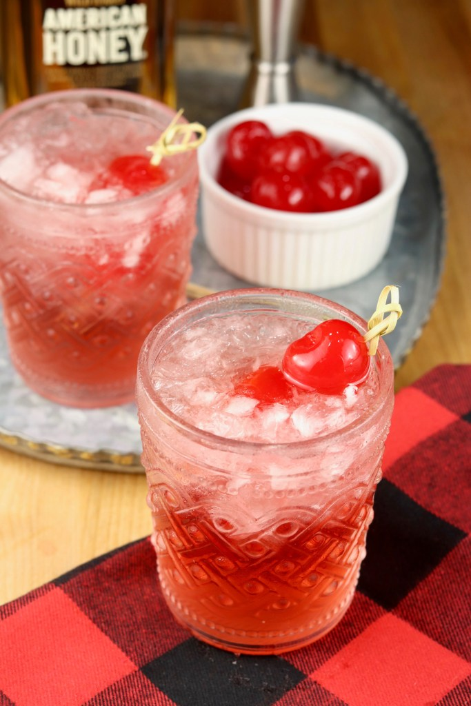 Wild Turkey American Honey Bourbon Whiskey Cocktail with cranberry juice