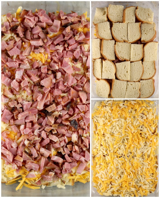 diced ham layered with bread and cheese