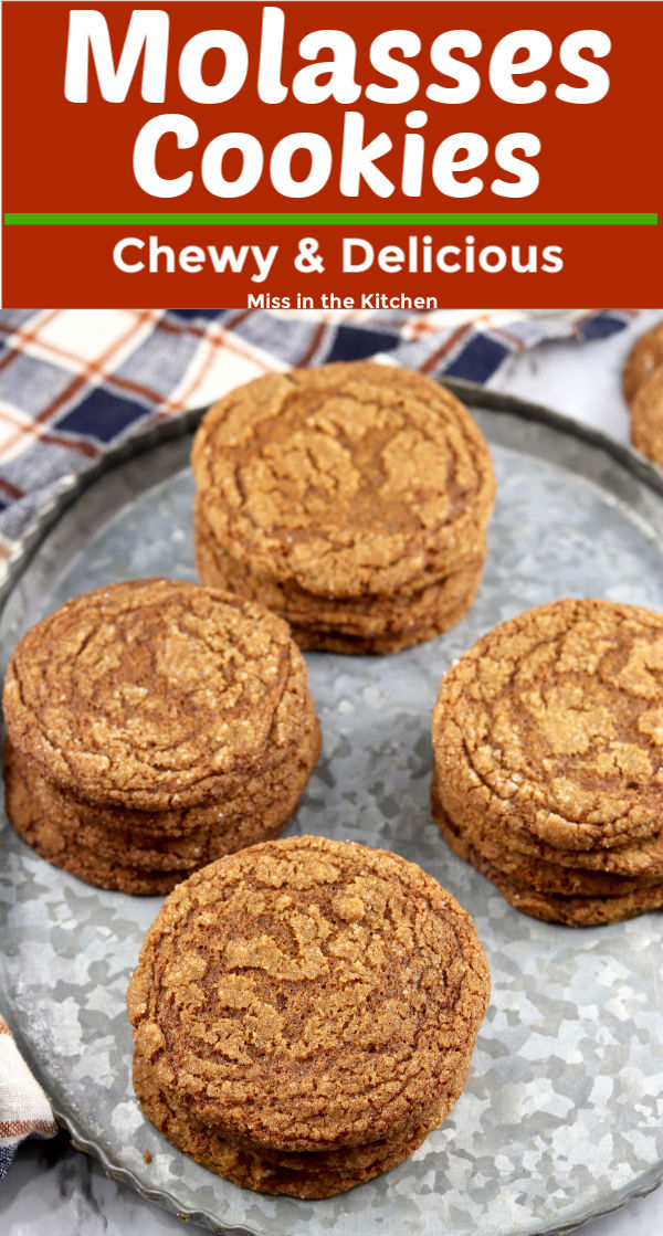 Molasses Cookies with text overlay