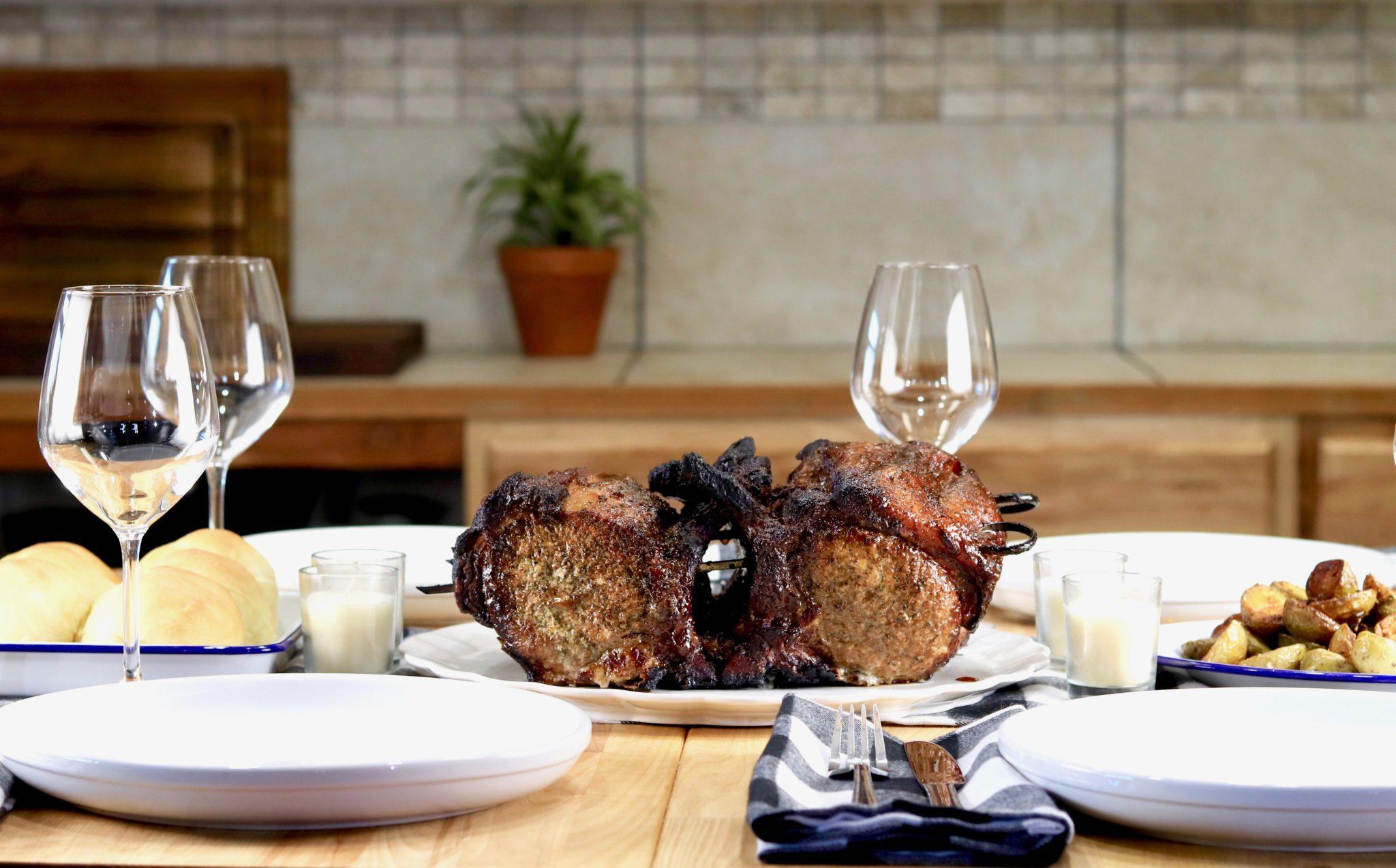 Table setting with pork rib roast