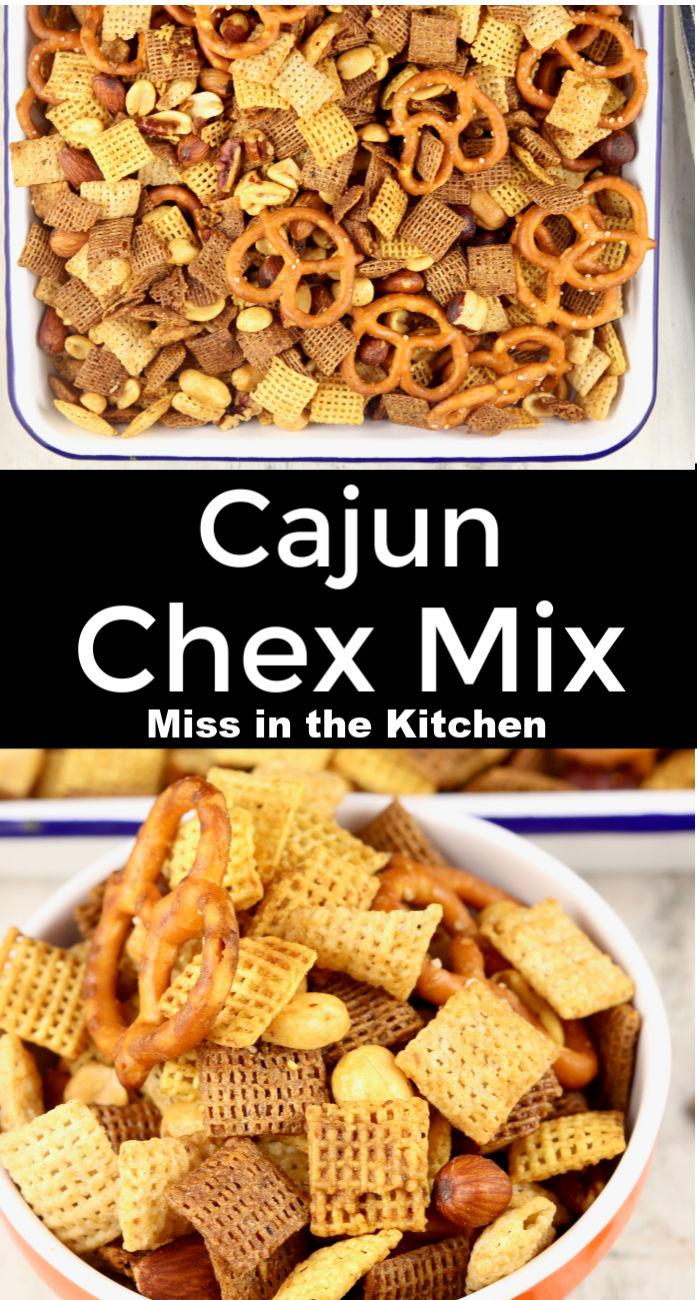 Cajun Chex Mix collage