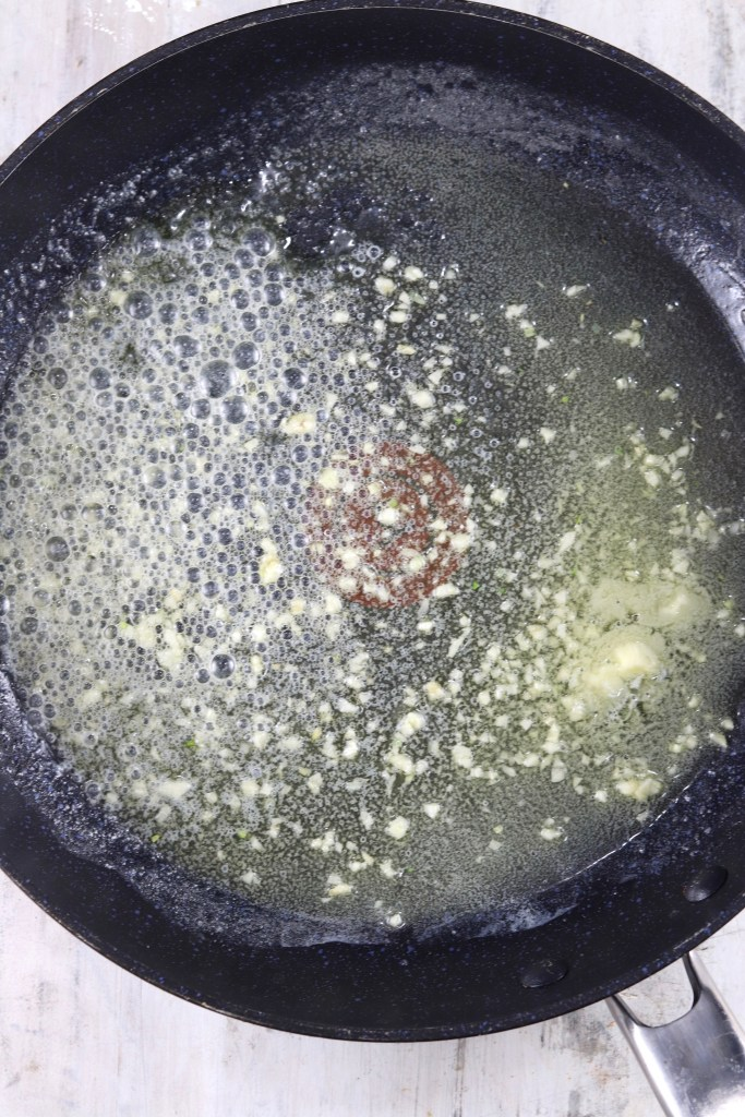 garlic butter in a skillet