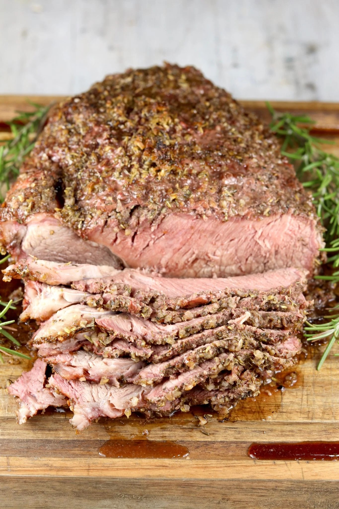 Roast Beef with herb crust, thinly sliced