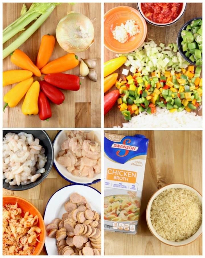 Ingredients for Jambalaya collage