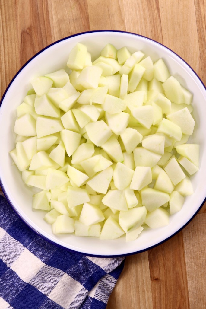 Pie plate of diced apples