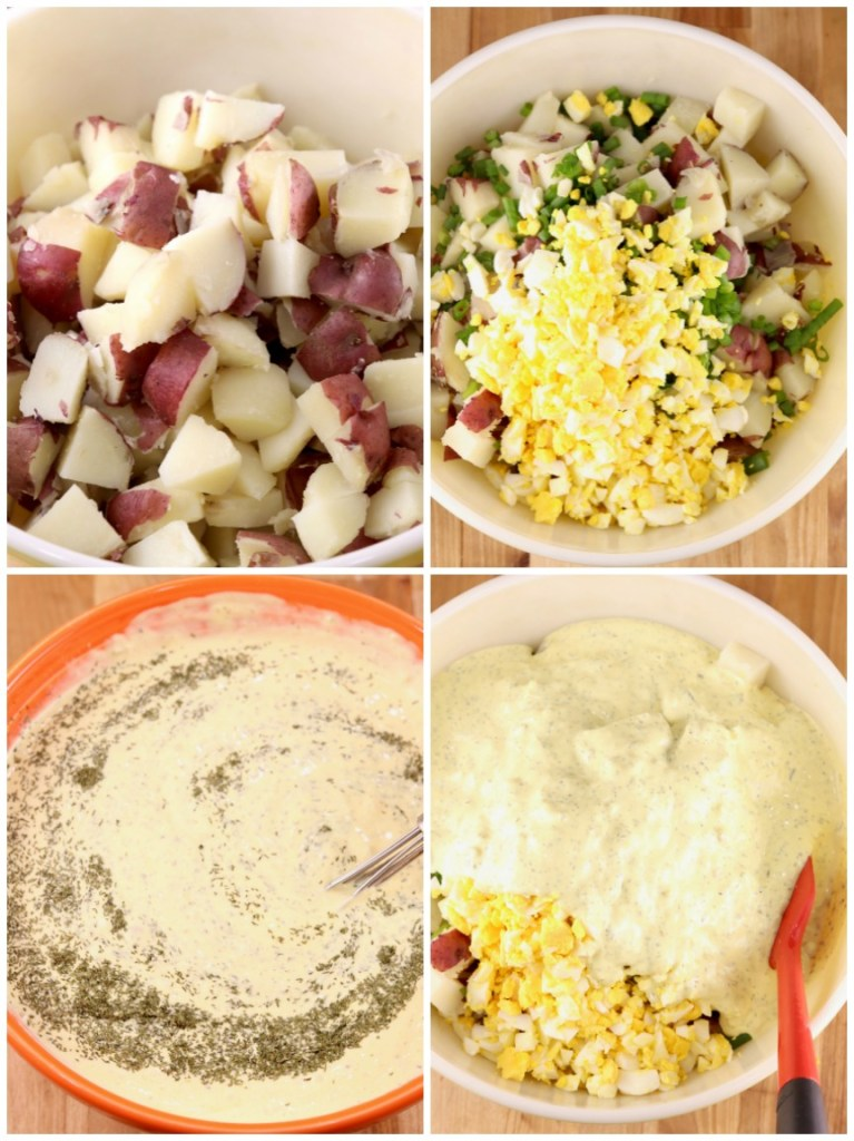 Step by step making potato salad