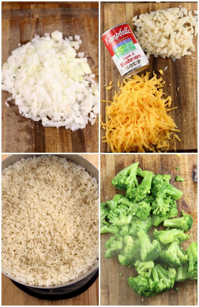 Ingredients for broccoli rice casserole