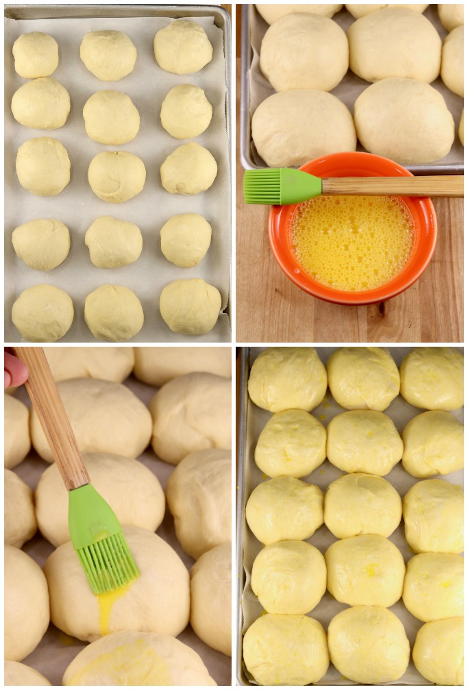 Egg wash for baking milk bread rolls