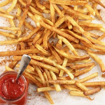 Homemade French Fries with Ketchup