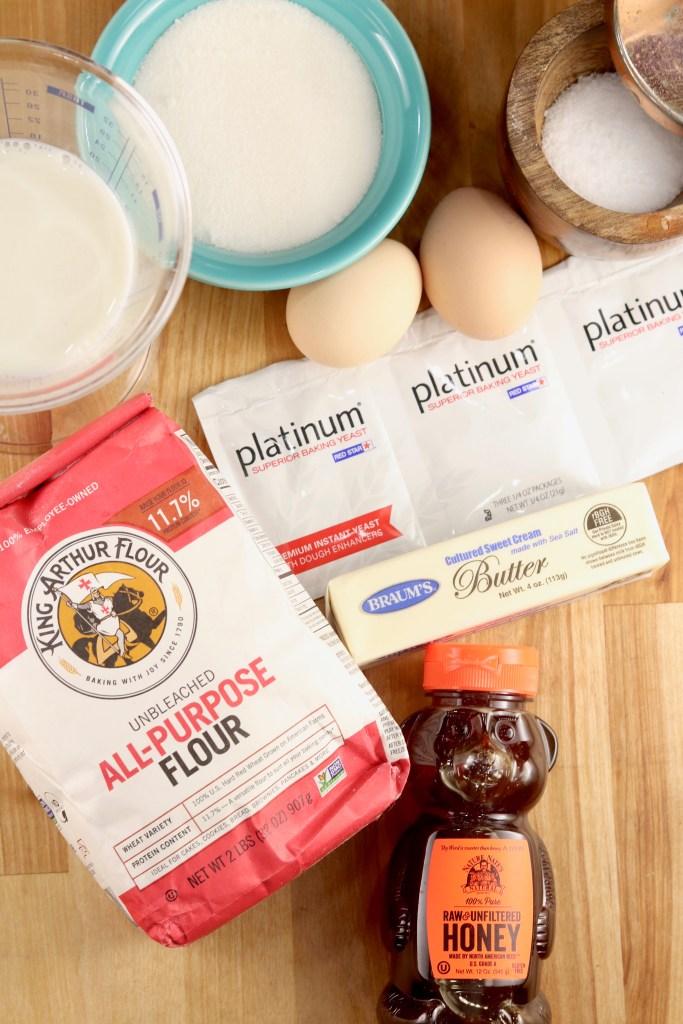 Ingredients for Milk Bread Honey Buns