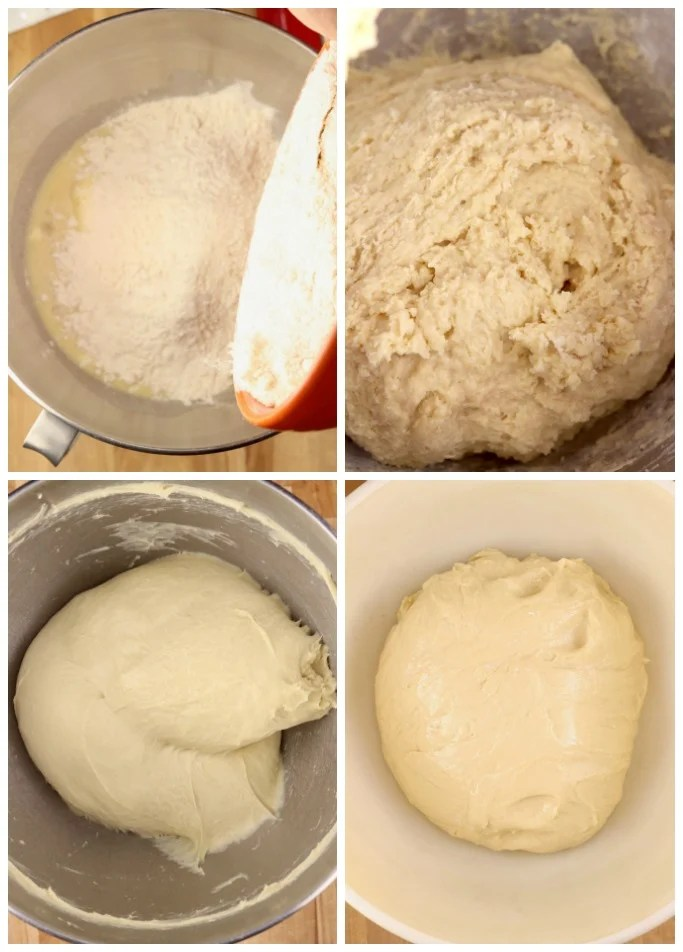 Mixing yeast and flour into Tangzhong for milk bread