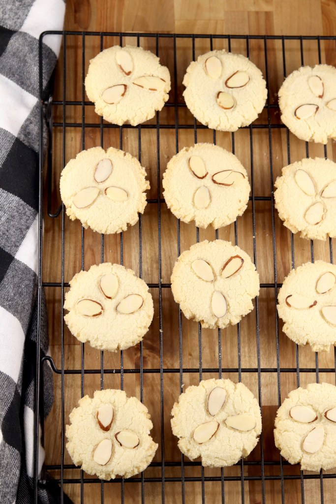 Almond Shortbread Cookies on a wire rack