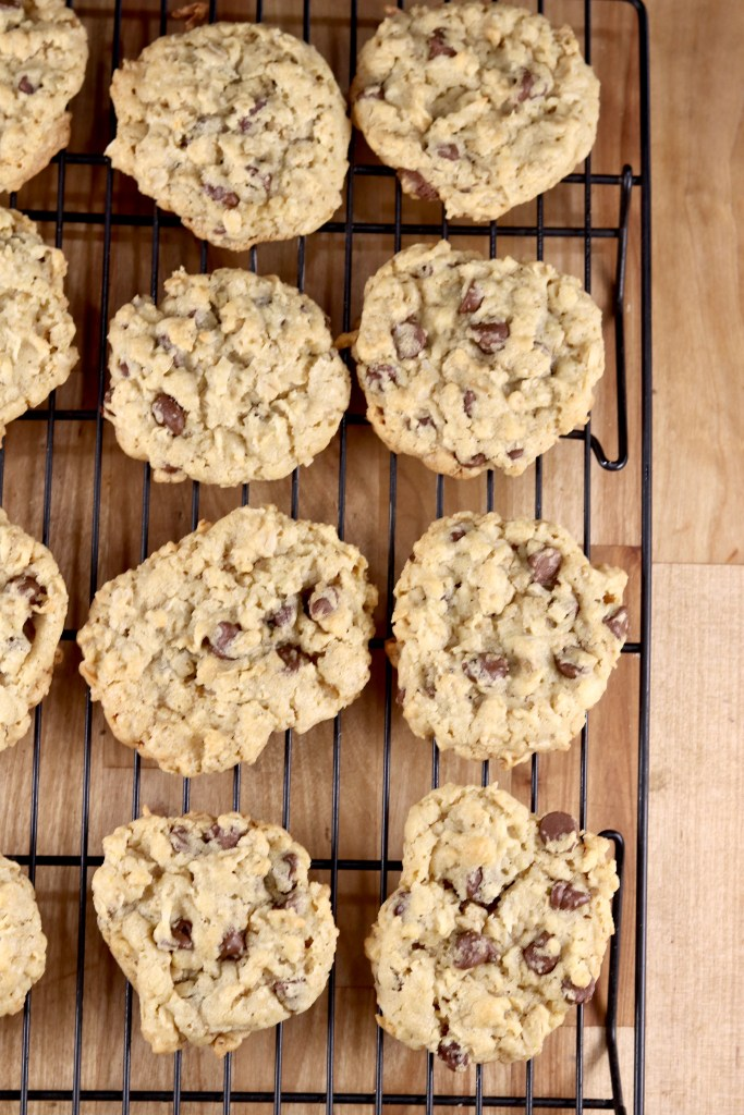 Dish Pan Cookies with chocolate chips and oatmeal
