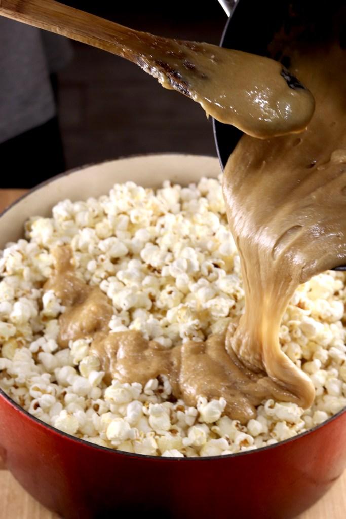 Making Baked Caramel Popcorn