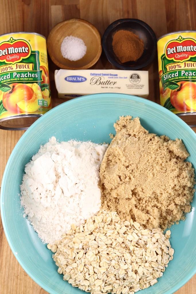 Ingredients for peach crisp