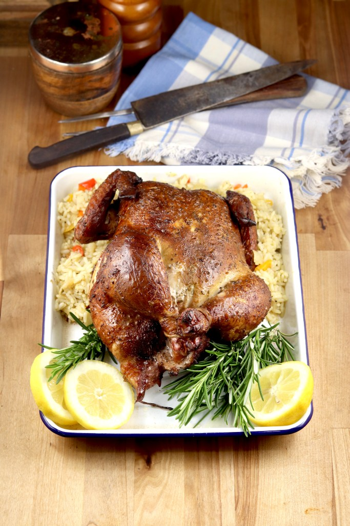 Whole Smoked chicken with lemon and rosemary