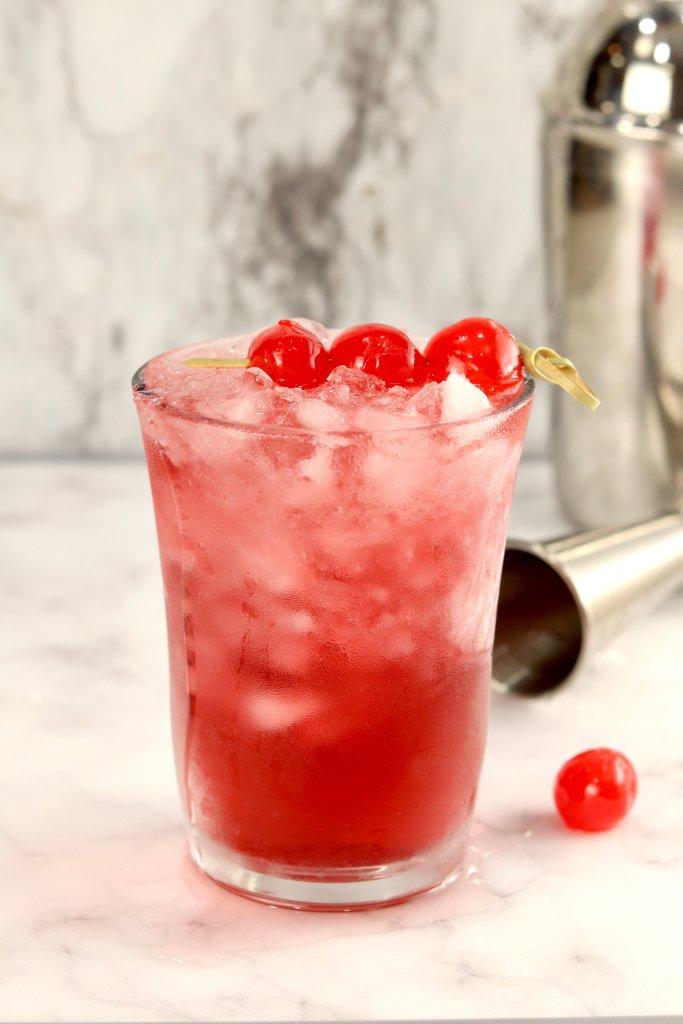 Woo-Woo Vodka Cocktail with cherry garnish