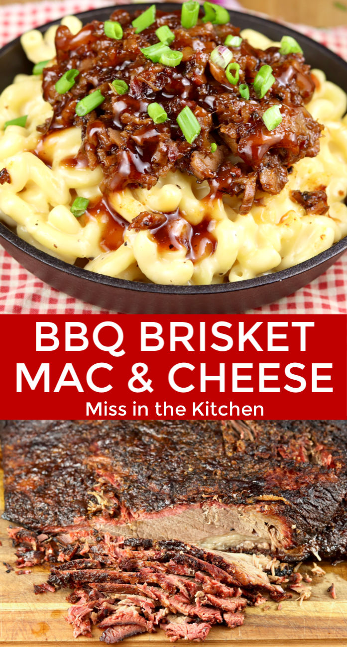 BBQ Brisket Mac & Cheese collage with smoked brisket