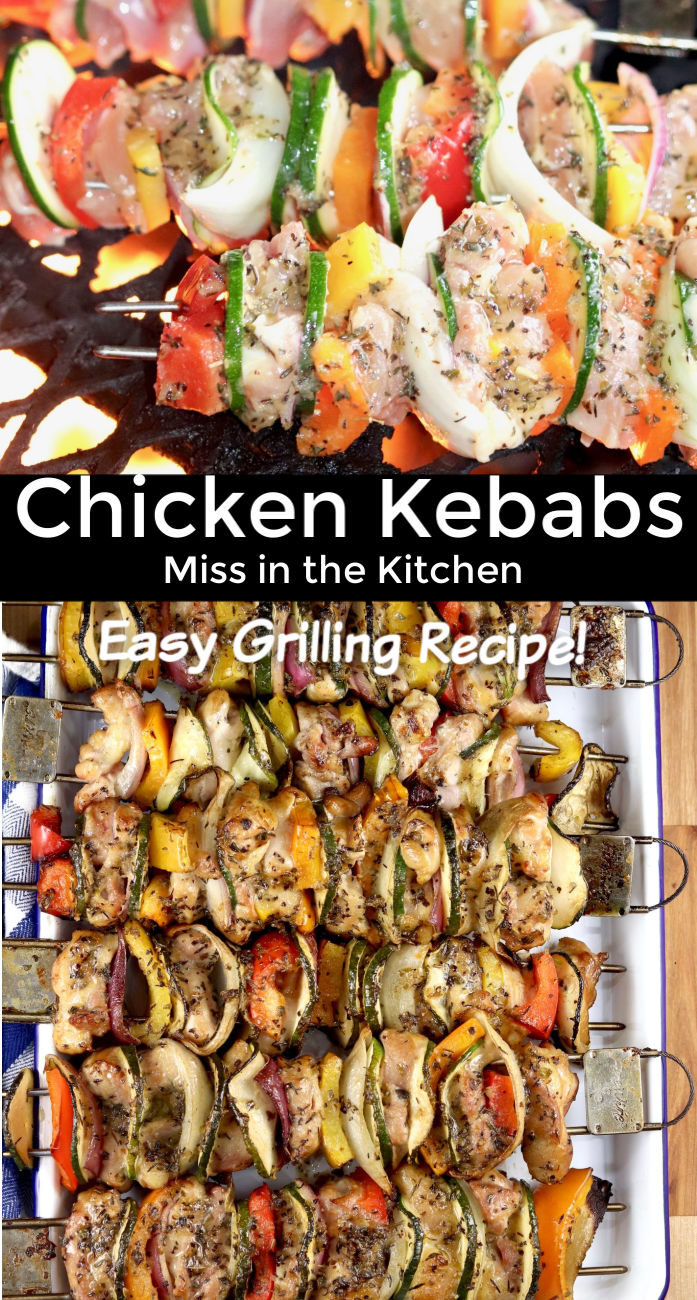 Grilled Kebabs with chicken and vegetables