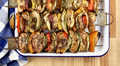 Grilled chicken and vegetable kebabs