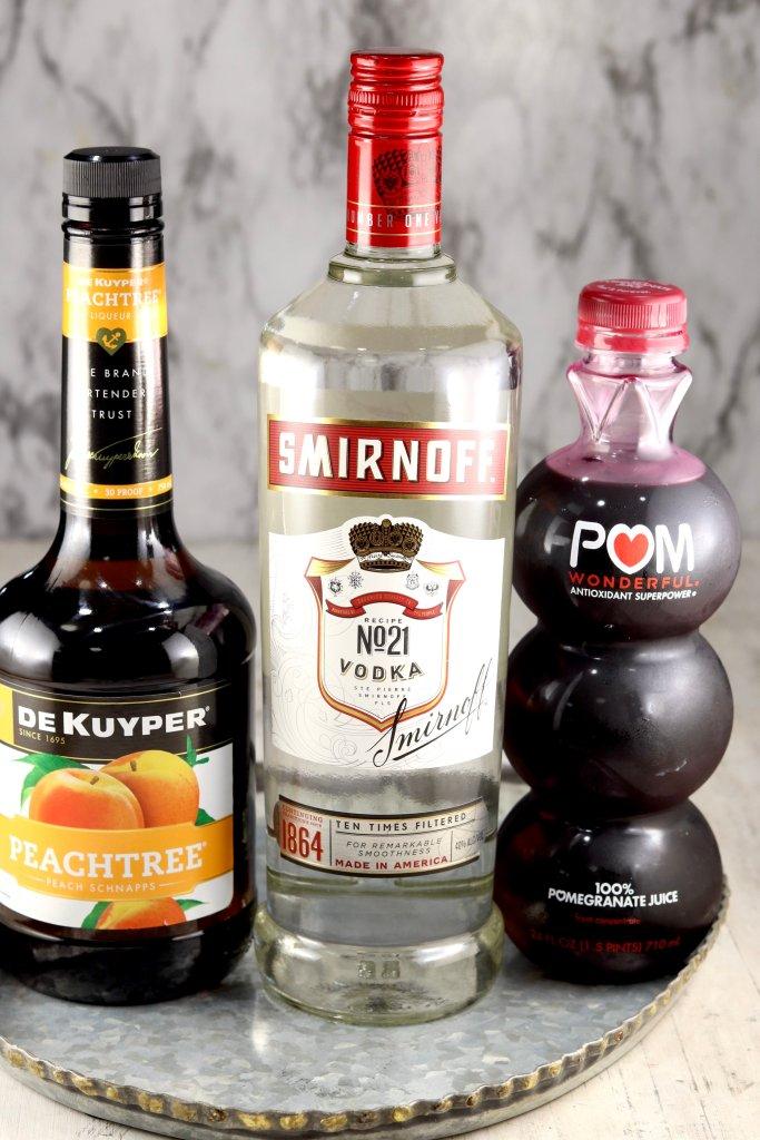 Ingredients for Woo Woo Vodka Cocktail
