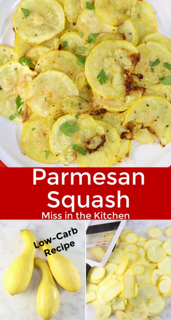 Collage photo - parmesan squash with sliced squash