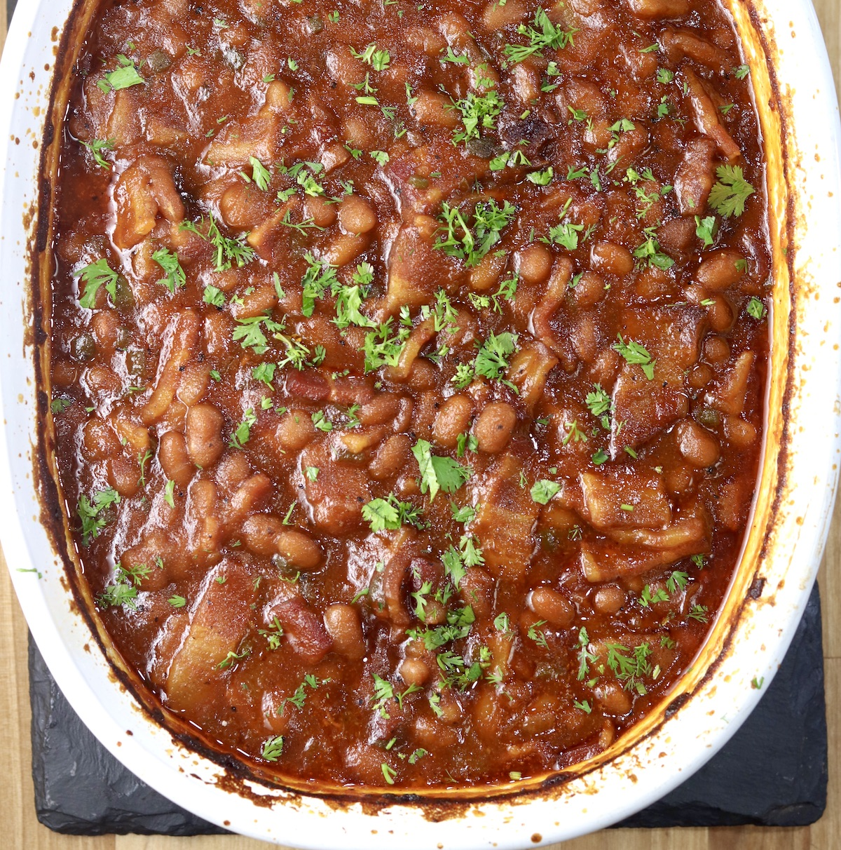 Easy Baked Beans With Bacon Miss In The Kitchen