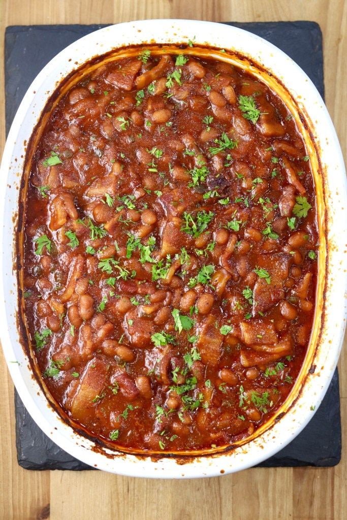 Baked Beans in an oval casserole dish