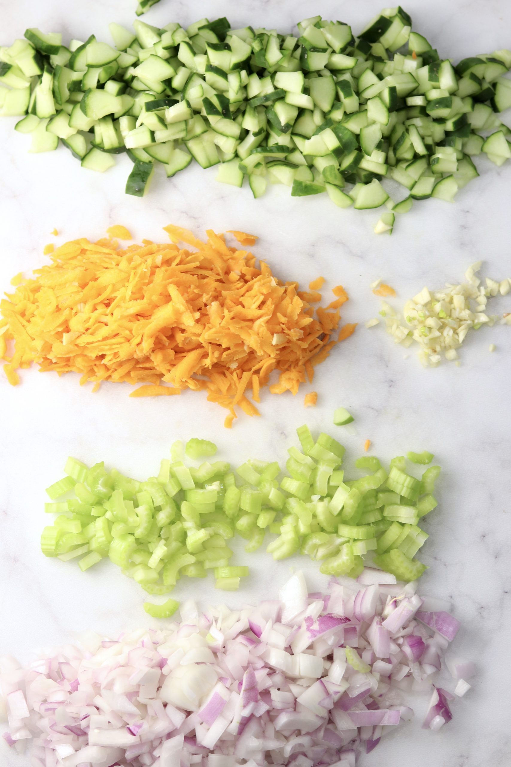 Chopped vegetables, cucumbers, carrots, garlic, celery and red onion