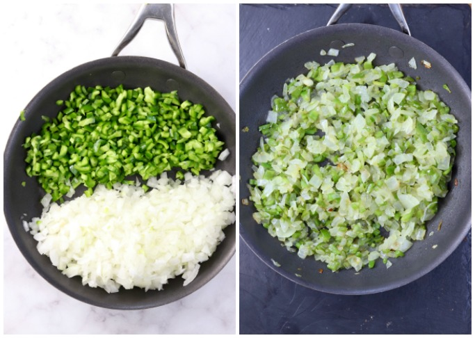 Skillet of bell peppers and onions -before and after cooking