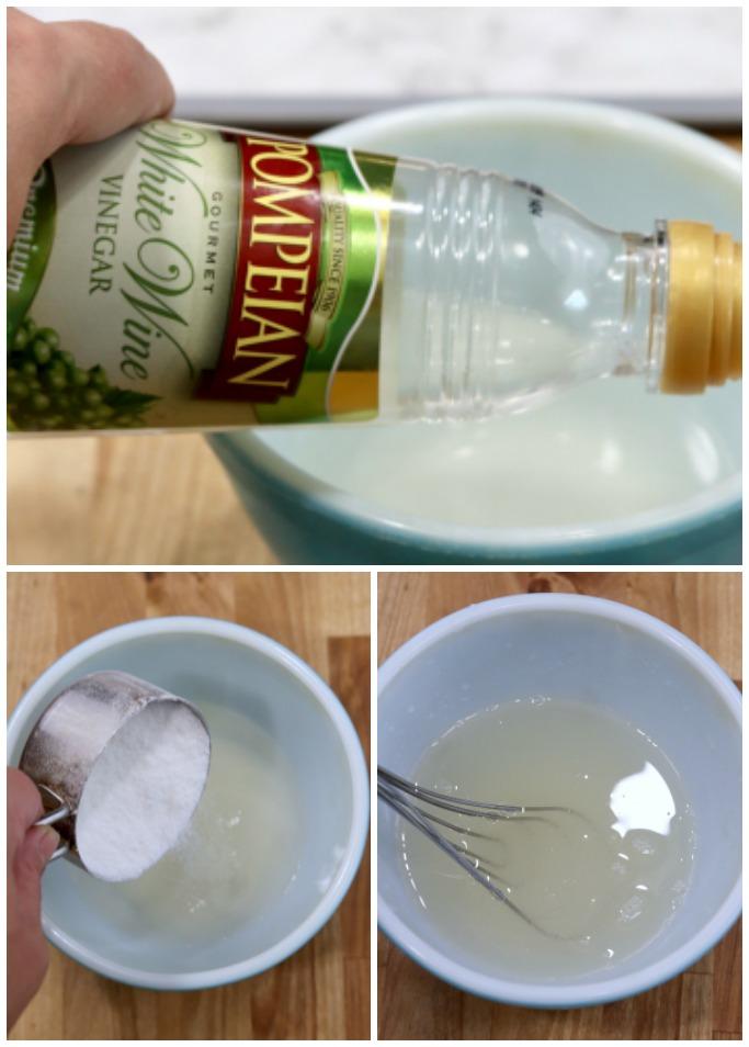 making sweet vinegar dressing for cucumber salad