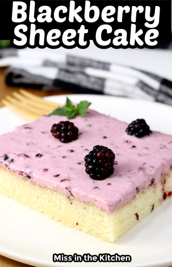 Blackberry Sheet Cake with text title overlay