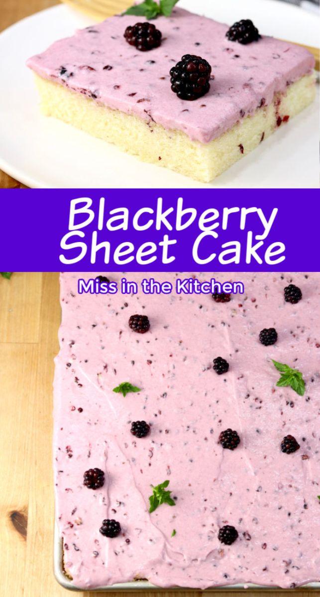 Blackberry Sheet Cake collage, sliced photo, sheet cake photo