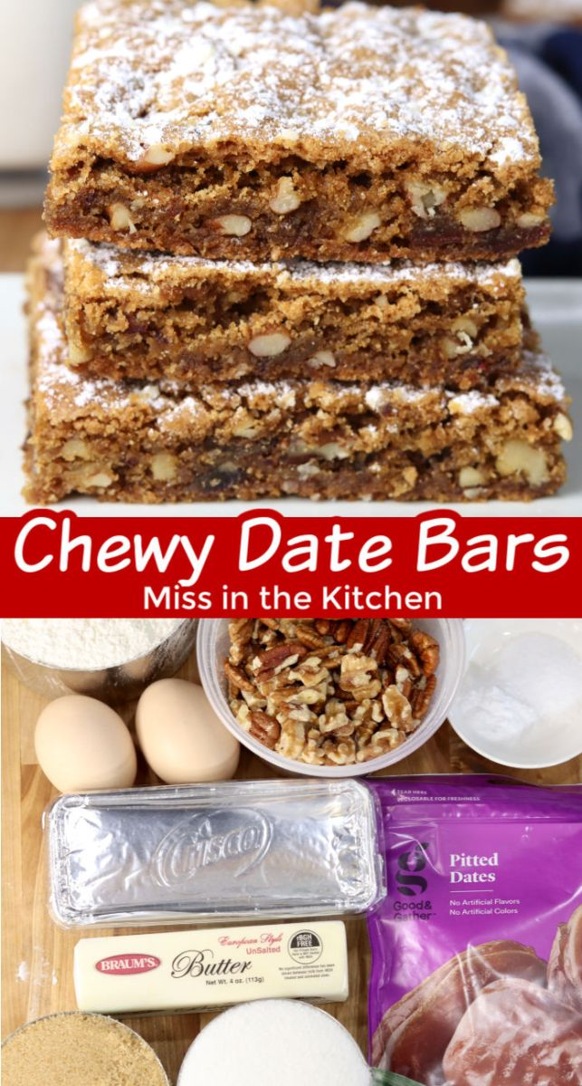 Collage of chewy date nut bars with ingredients photo