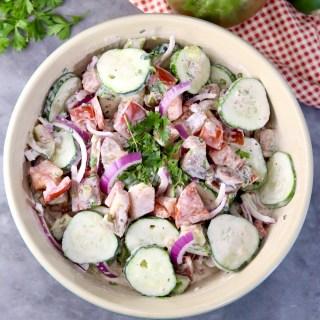 Creamy Cucumber Tomato Salad with herbs
