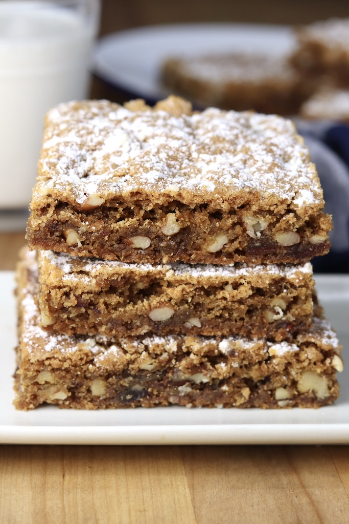 Easy Dessert bars with dates and nuts - stack of 3 on a plate