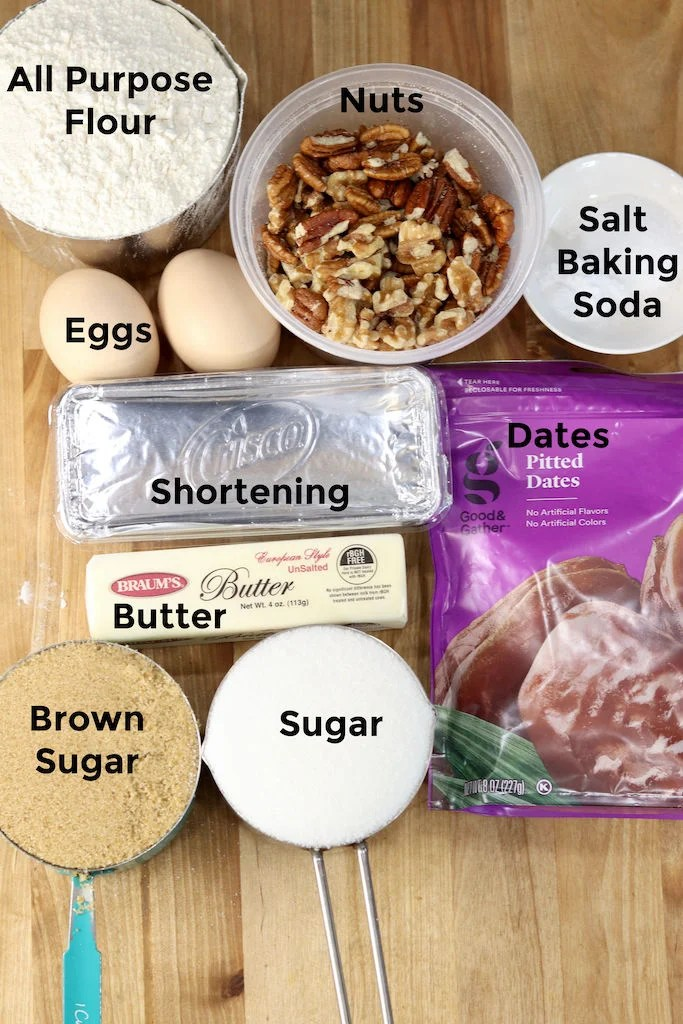 Ingredients for Date Bars - flour, sugar, nuts, shortening, butter, dates, baking soda, salt, eggs