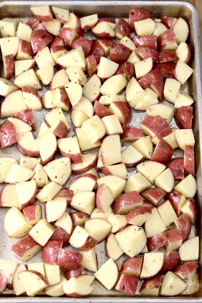 Sheet pan of potato chunks
