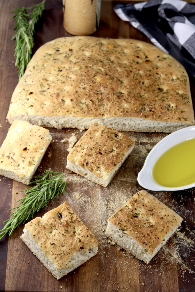 Square slices of focaccia bread with olive oil