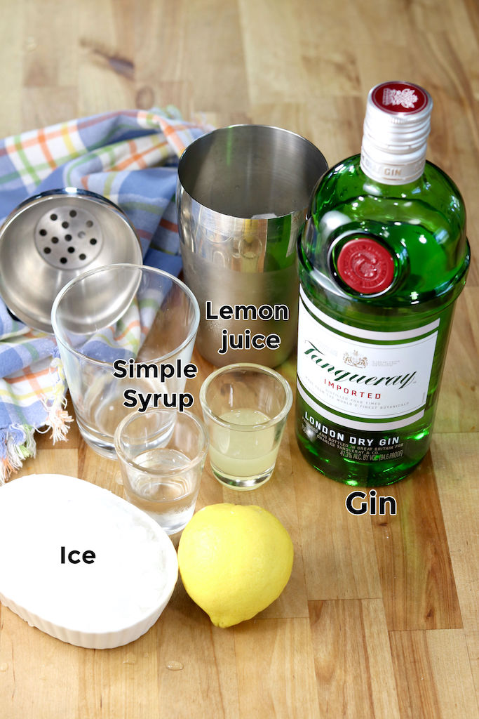 Ingredients for Gin Sour - Gin, lemon juice, simple syrup, ice